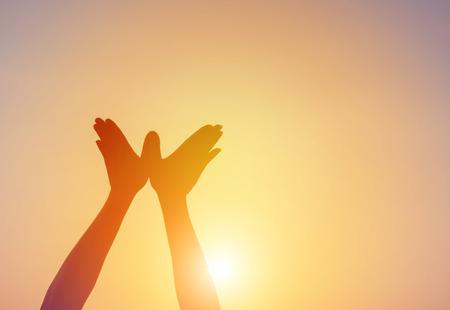 手の形をした鳥飛ぶ太陽空の朝