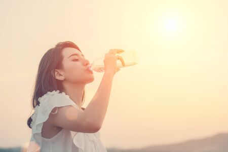 thirst: Woman drink water for thirst