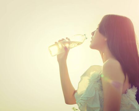 thirst: Woman drink water for thirst,dream soft style.
