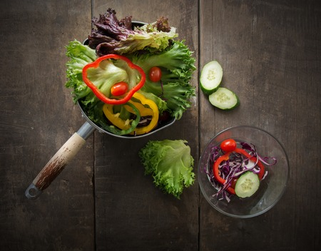 bell peppers: Top view of Salad veggie is breakfast for healthy,tomatoes,bell peppers, cucumber,