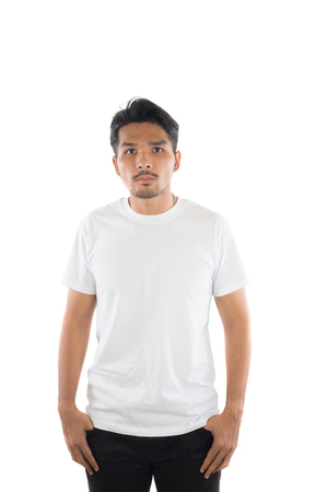 white t-shirt on a young hipster man isolated white background. Imagens - 77500931