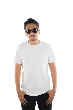 white t-shirt on a young hipster man isolated white background. Imagens - 77500941