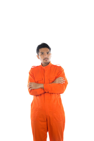 Prisoner man isolated on white background. Stock Photo