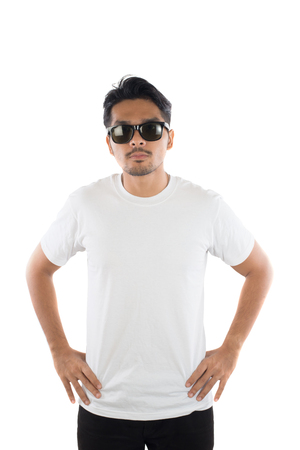 white t-shirt on a young hipster man isolated white background.