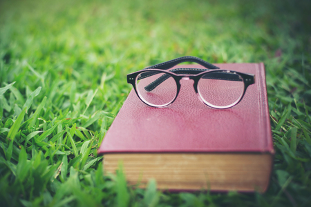 Glasses with red book on the green grass in the park