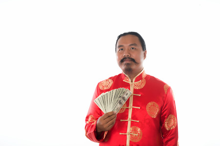 Chinese man pay Dollar, Chinese new year Stock Photo