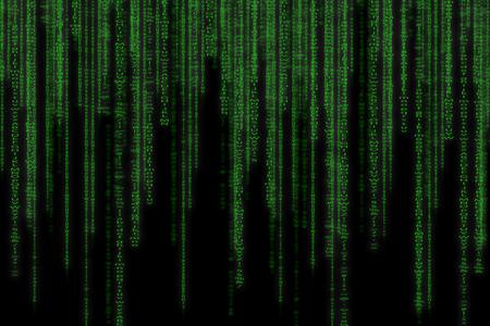 抽象的なグリーン技術のバイナリ背景。バイナリのコンピューター コード。プログラミング ハッカー概念。 写真素材