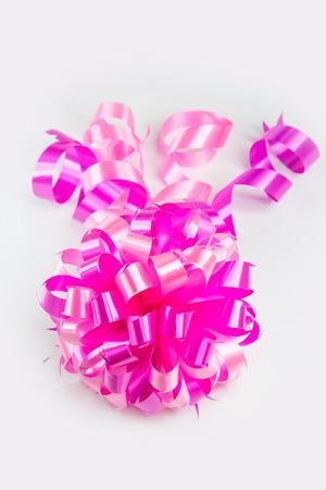 ribbin: ribbin pink on white background Stock Photo