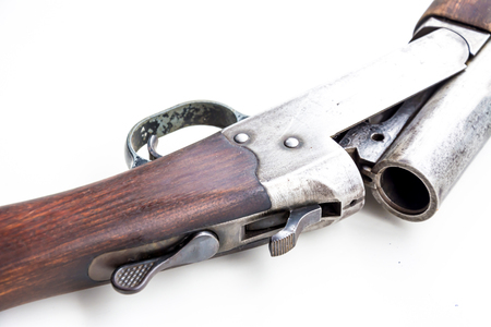 Gun in hand on white isolate background Stock Photo