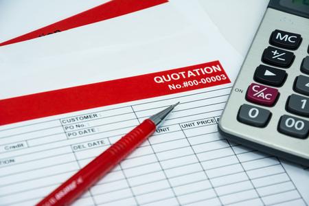 Quotation business document on paper background Foto de archivo