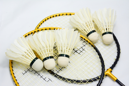 sport item of Badminton and racket on the floor white background Stock fotó