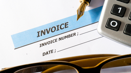 Invoice business document inform to deptor for payment on white paper