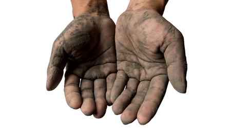 Hand dirty with mud on white isolate background