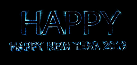Happy text colorful shade outline beautiful on black color background. concept of dark happy