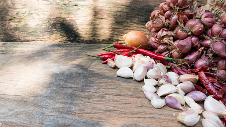 traditional material for Thai food on wood sheet background. concept of food