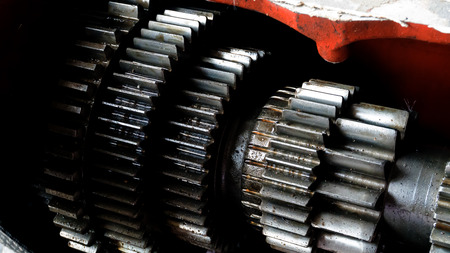 close up gear wheel rotate concept. spare part of vehicle car. Fixing car Stock Photo