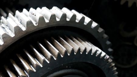close up gear wheel rotate concept. spare part of vehicle car. Stock Photo