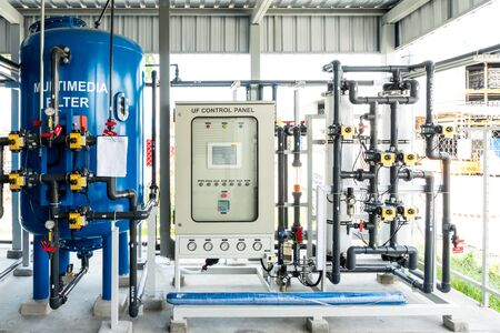 Water pipe control panel unit system in industry factory Stock fotó