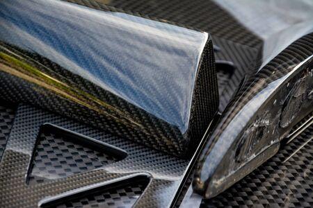automotive part product make by carbon fiber composite. sport part premium car.