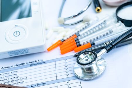 Health check list for personal result with hospital equipment