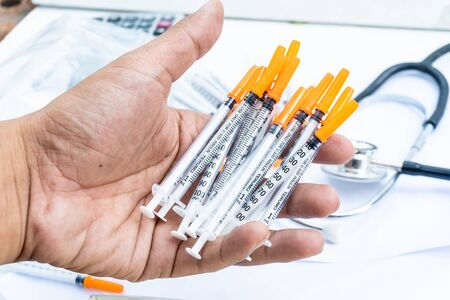 the syringe use in the hospital for inject vaccine for resist virus.