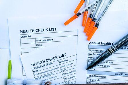 health check list form with equipment checking Standard-Bild - 142932060