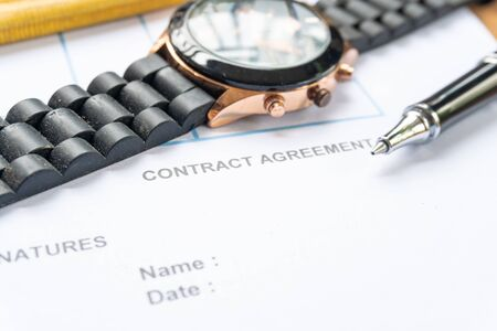 contract agreement document for sign with pen Standard-Bild - 142932343