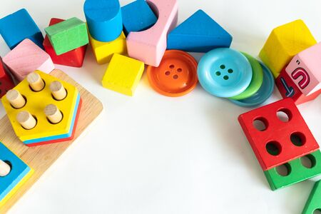 Children wood block colorful use for play development skill of baby Standard-Bild - 142932373
