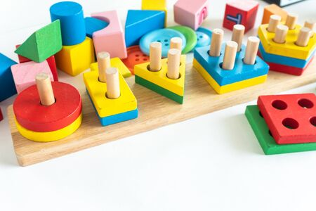 Children wood block colorful use for play development skill of baby Standard-Bild - 142932379