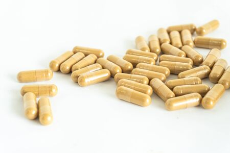 Brown herb capsule Nutritional Supplement Vitamin Pill Herbal Medicine