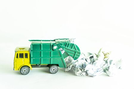 Garbage collection truck car for clean paper waste on white floor