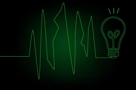 Green ECG heartbeat on black background photo