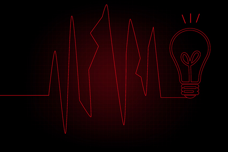 Red ECG heartbeat on black background photo