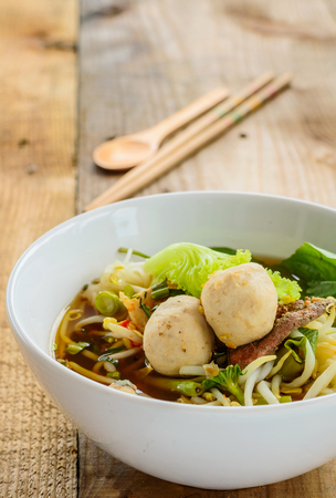nam: Thai style beef noodle soup,Moo nam tok. Stock Photo