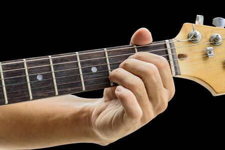 chords: Example for the guitar chords isolate on black background.A Major Chord