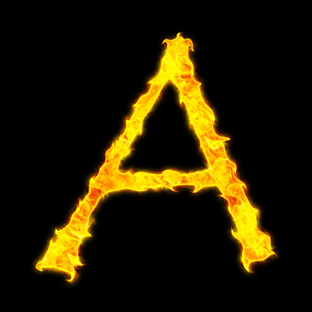 fervent: Fire letter A on a black background Stock Photo