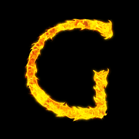 Fire letter G on a black background