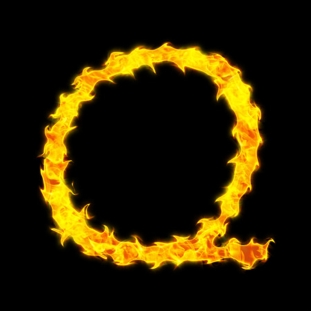 Fire letter Q on a black background