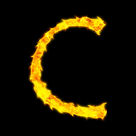 Fire letter C on a black background