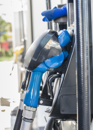 fuel pumps at a gas station. Stock Photo
