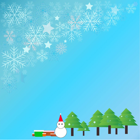 snow scene: merry christmas and happy new year Illustration