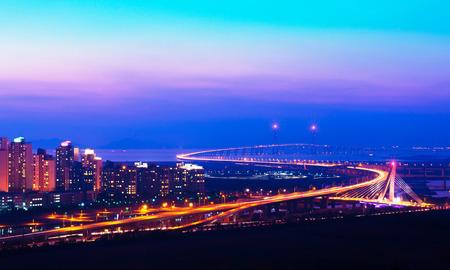 incheon: incheon bridge and sunset in korea