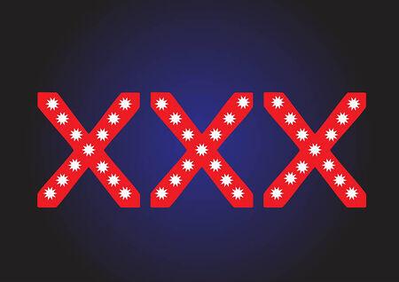 vuxen: Belysning XXX tält för sexuellt innehåll material Illustration
