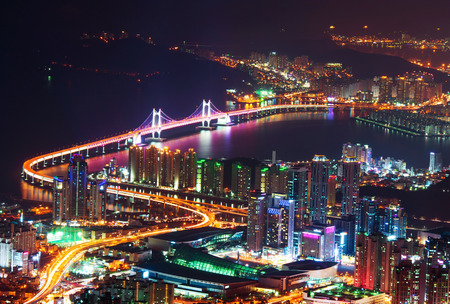 GwangAn Bridge and Haeundae at night in Busan,Korea
