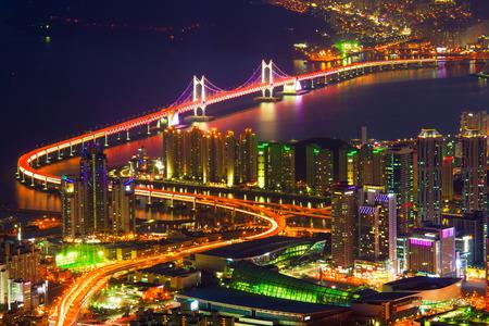 GwangAn Bridge and Haeundae in Busan,Korea Stock Photo