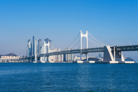 turnpike: Gwangan bridge and Haeundae in Busan,Korea Stock Photo