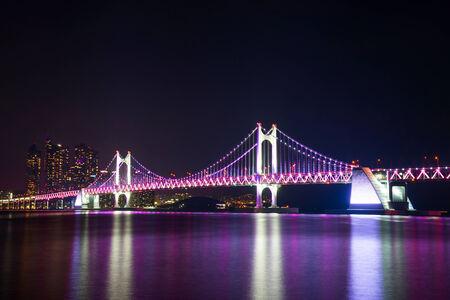 Gwangan Bridge at night in Busan, South Korea. Stock Photo