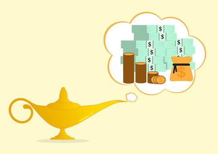 jinn: l�mpara de Aladino dorada hacer dinero en el fondo Vectores