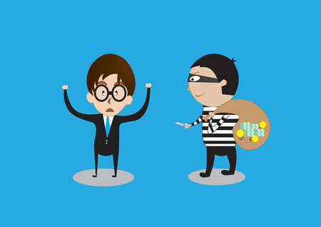 plagiarism: Thieves robbed idea from businessman on background Illustration