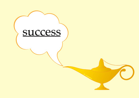 golden aladdin lamp and success text.